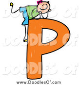 Vector Clipart of a Doodled Happy Pink Haired White Boy Resting on Top of a Capital Letter P by Prawny