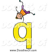 Vector Clipart of a Doodled Happy White Boy Doing a Cartwheel on a Lowercase Letter Q by Prawny