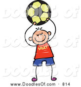 Vector Clipart of a Doodled Happy White Boy Playing Soccer by Prawny
