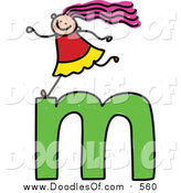 Vector Clipart of a Doodled Happy White Girl on a Lowercase Letter M by Prawny
