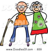 Vector Clipart of a Doodled Happy White Senior Couple by Prawny