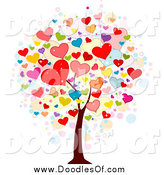 Vector Clipart of a Doodled Heart Valentine Tree by BNP Design Studio