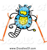 Vector Clipart of a Doodled Hurt Blue Cat Using Crutches by Prawny