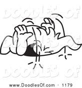 Vector Clipart of a Doodled Laughing Squiggle Guy Pounding the Ground by Toons4Biz