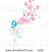 Vector Clipart of a Doodled Love Bird Blowing Heart Bubbles by BNP Design Studio