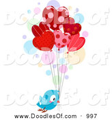 February 25th, 2016: Vector Clipart of a Doodled Love Bird Delivering Heart Balloons by BNP Design Studio