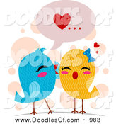 February 11th, 2016: Vector Clipart of a Doodled Love Bird Pair Whispering Sweet Nothings by BNP Design Studio