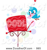 Vector Clipart of a Doodled Love Bird Putting a Letter in a Mailbox by BNP Design Studio