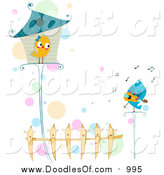 Vector Clipart of a Doodled Love Bird Serenading His Love by BNP Design Studio
