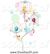 Vector Clipart of a Doodled Love Birds in Wire Cages by BNP Design Studio
