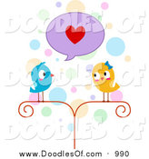 Vector Clipart of a Doodled Lovebird Couple by BNP Design Studio