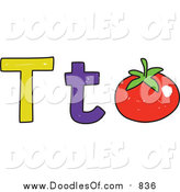 Vector Clipart of a Doodled Lowercase and Capital Letter T with a Tomato by Prawny