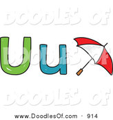 Vector Clipart of a Doodled Lowercase and Capital Letter U with a Umbrella by Prawny
