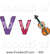 Vector Clipart of a Doodled Lowercase and Capital Letter V with a Violin by Prawny