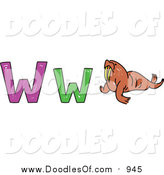 Vector Clipart of a Doodled Lowercase and Capital Letter W with a Walrus by Prawny