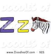 Vector Clipart of a Doodled Lowercase and Capital Letter Z with a Zebra by Prawny