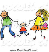 Vector Clipart of a Doodled Mom and Dad Swinging Their Son by Prawny
