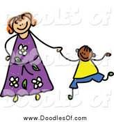 Vector Clipart of a Doodled Mother Holding Hands with Her Boy by Prawny