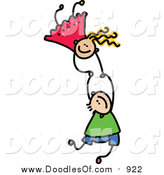 Vector Clipart of a Doodled of Two Caucasian Kids Holding Hands While Falling by Prawny