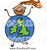 March 4th, 2015: Vector Clipart of a Doodled Orange Haired Black Girl with a Uk Globe Body by Prawny
