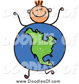 Vector Clipart of a Doodled Orange Haired White Boy with an American Globe Body by Prawny