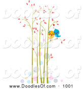Vector Clipart of a Doodled Pair of Love Birds in Tall Trees by BNP Design Studio