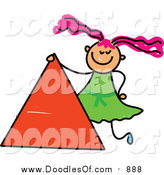 Vector Clipart of a Doodled Pink Haired White Girl by a Triangle by Prawny