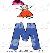 Vector Clipart of a Doodled Pink Haired White Girl on Top of a Capital Letter M by Prawny