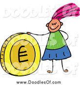 Vector Clipart of a Doodled Pink Haired White Girl with a Euro Coin by Prawny