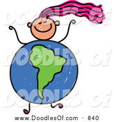 Vector Clipart of a Doodled Pink Haired White Girl with a South American Globe Body by Prawny