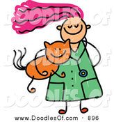 August 22nd, 2015: Vector Clipart of a Doodled Pink Haired White Veterinarian Girl Carrying a Ginger Cat by Prawny