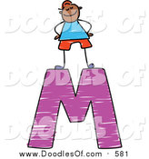 Vector Clipart of a Doodled Proud Black Boy on a Capital Letter M by Prawny