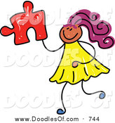 Vector Clipart of a Doodled Purple Haired Black Girl Holding a Puzzle Piece by Prawny