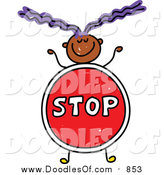 Vector Clipart of a Doodled Purple Haired Black Girl with a Stop Sign Body by Prawny