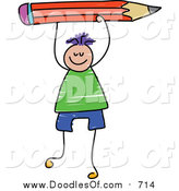 Vector Clipart of a Doodled Purple Haired White Boy Holding up a Red Pencil by Prawny