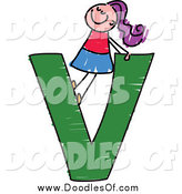 Vector Clipart of a Doodled Purple Haired White Girl in a Capital Letter V by Prawny