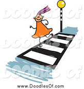 Vector Clipart of a Doodled Purple Haired White Girl Running on a Crosswalk by Prawny