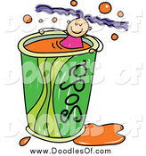 Vector Clipart of a Doodled Purple Haired White Girl Swimming in a Soda Cup by Prawny