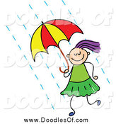 Vector Clipart of a Doodled Purple Haired White Girl Using an Umbrella by Prawny