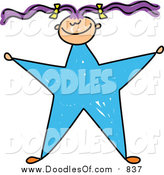 Vector Clipart of a Doodled Purple Haired White Girl with a Blue Star Body by Prawny