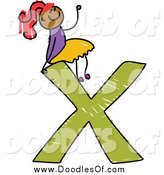 Vector Clipart of a Doodled Red Haired Black Girl Seitting on Top of a Capital Letter X by Prawny
