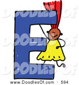 Vector Clipart of a Doodled Red Haired Black Girl with a Capital Letter E by Prawny