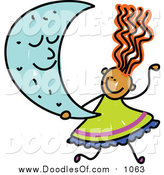 Vector Clipart of a Doodled Red Haired Girl Holding a Crescent Moon by Prawny