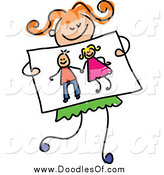 Vector Clipart of a Doodled Red Haired Girl Holding a Drawing of Kids Holding Hands by Prawny