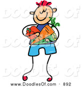 Vector Clipart of a Doodled Red Haired White Boy Carrying Veggies by Prawny