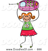 Vector Clipart of a Doodled Red Haired White Girl Holding up a Pink Cell Phone by Prawny