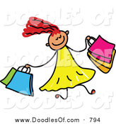 Vector Clipart of a Doodled Red Haired White Girl Shopping by Prawny