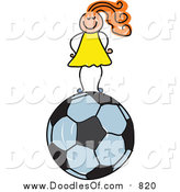 Vector Clipart of a Doodled Red Haired White Girl Standing on a Soccer Ball by Prawny