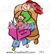 Vector Clipart of a Doodled Red Haired White Mom and Son Reading a Book by Prawny
