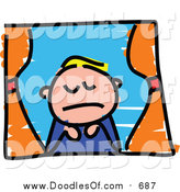 Vector Clipart of a Doodled Sad Blond White Boy Looking out a Window by Prawny